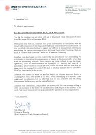 Letter Of Credit In Australia of recommendation uob