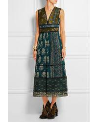 burberry prorsum printed silk dress in blue lyst