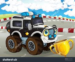 monster trucks races cartoon cars cartoon scene happy smiling police monster stock illustration