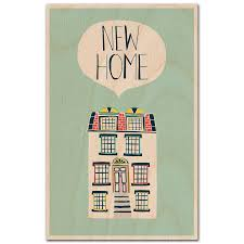 new home blue wooden postcard by timbergram by timbergram