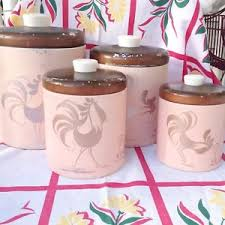 pink canisters kitchen vintage ransburg rooster metal pink canisters pastel kitchen 50s 60s
