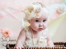 baby flower headbands ivory baby headband baptism christening hair accessories