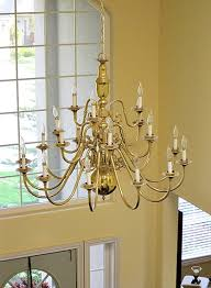 Entry Chandelier Lighting Brass Chandelier S Makeover At The Picket Fence