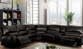 Motion Sectional Sofa Acme 54150 Saul Black Leather Power Motion Sectional Sofa 6pcs