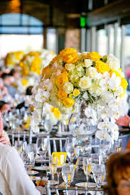 wedding reception table decorations yellow yellow and gray
