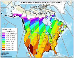 Canada On A Map A Map Of Sunset Times On The Summer Solstice Across The Usa And