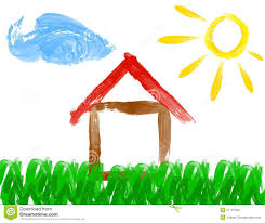 paint drawing of house and sun made by child stock illustration