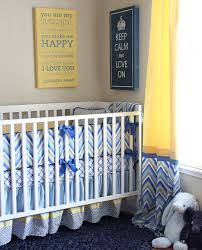 Nursery Bedding And Curtain Sets by Bedroom Marvelous White Rail Baby Crib With Blue Chevron Mattress