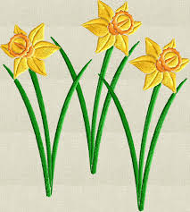 daffodils spring flowers embroidery design embroidery design