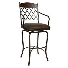 Bar Stool With Back And Arms Black Polished Wrought Iron Bar Stool With Diamond Backrest Of