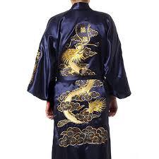 robe de chambre satin homme marine bleu chinois soie satin hommes peignoir broderie