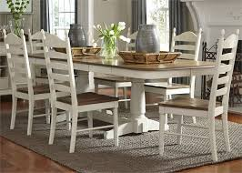 springfield double pedestal table 5 piece dining set in two tone