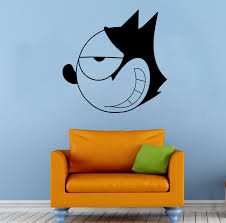 wall decals stickers home decor home furniture diy felix cat wall decal cartoon comics hero vinyl sticker art home mural decor 5