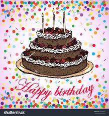 vector card birthday cake handdrawing vector stock vector