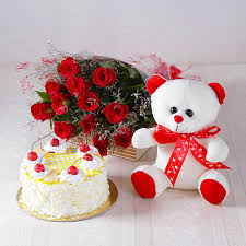 valentinegiftidea forever red roses with half kg pineapple cake
