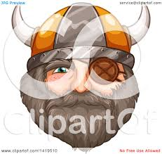 clipart of a bearded viking warrior face with an eye patch and