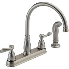 delta kitchen sink faucet shop delta windemere stainless 2 handle deck mount high arc