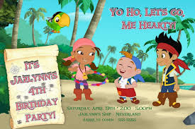 jake neverland pirates birthday invitation template