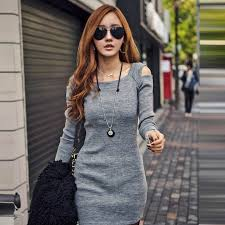 korean off shoulder long sleeve knit round neck fitted pencil