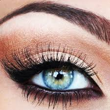 copper black eye makeup for blue green eyes