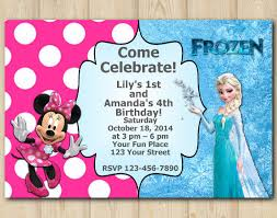joint twins invitation frozen minnie mouse twins birthday
