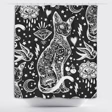 Curtain Tattoo Black And White Old Tattoo Sphynx Cat Shower Curtain Ink