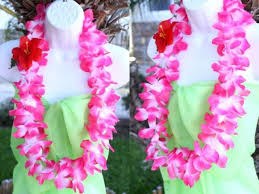 flower leis six hawaiian silk flower luau party hula necklace pink white