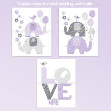 Purple And Gray LOVE Elephants Nursery Decor