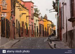 spanish colonial style homes along the cobblestone recreo street