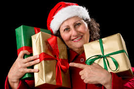 what to get an elderly woman for christmas elderly woman with three wrapped christmas gifts stock image
