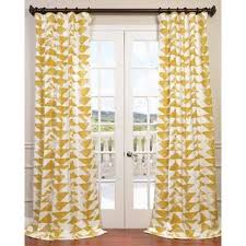 eff triad gold printed cotton twill curtain panel overstock com