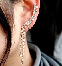 ear clasp water rhinestone ear cuff gold single no piercing