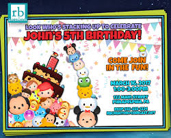 Mickey Mouse Invitation Cards Printable Tsum Tsum Birthday Invitation Tsum Tsum Party Tsum Tsum