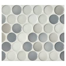 penny round mosaic  graphite blend gloss  complete tile collection with penny round mosaic  graphite blend  gloss from completetilecom