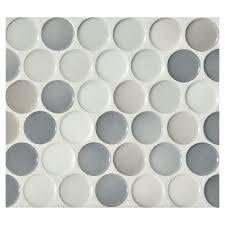 Penny Tile Kitchen Backsplash Penny Round Mosaic Graphite Blend Gloss Complete Tile Collection