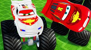 lightning mcqueen monster truck videos monster trucks mcqueen u0026 lightning mcqueen colors destroy cars