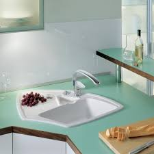 kitchen decoration using white ceramic corner kitchen sink along