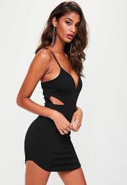 plunge dress black cut out strappy plunge dress missguided