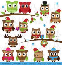 cute christmas owl clipart clip art winter owls clip art