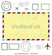 air mail envelope postal stamps postmarks stock vector 225777823