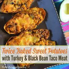 Potatoes As Main Dish - twice baked sweet potato with turkey u0026 black bean taco meat