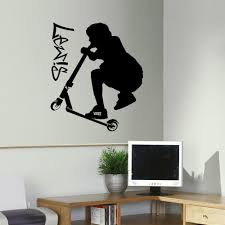 large personalised stunt scooter teenage bedroom wall art sticker large personalised stunt scooter teenage bedroom wall art sticker transfer decal diy wallpaper 3 sizes available in wall stickers from home garden on