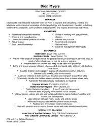 Cashier Job Description For Resume Experience Babysitting Resume Resume For Your Job Application