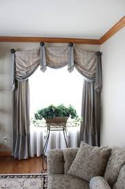 Window Treatment Hardware Medallions - valances jabots silk side panels with matching pillows hung on