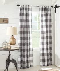 Black And White Buffalo Check Curtains Linen Check Rod Pocket Curtains Country Curtains