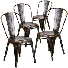 Black Metal Bistro Chairs Flash Furniture 4 Pk Distressed Copper Metal Indoor