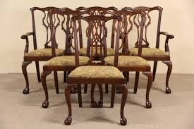 sold georgian chippendale set of 6 carved mahogany dining chairs