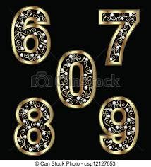 clipart vector of gold numbers with swirly ornaments 2 csp12127653