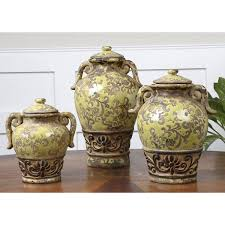 decorative canister sets kitchen green gian decorative containers set of three uttermost kitchen
