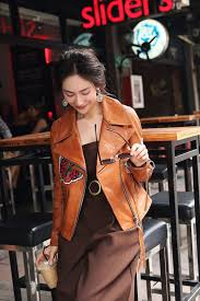 motorcycle biker jacket breathable women elegant geniune sheep leather jacket spring